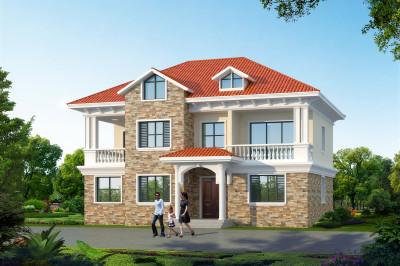 漂亮实用4间二层别墅房屋设计图,户型周正,造价经济