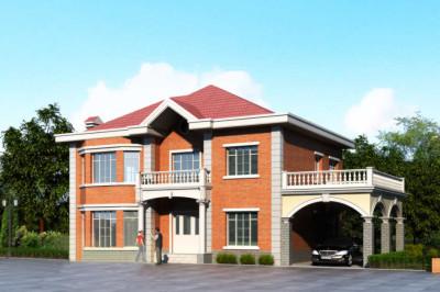 二层带车库别墅户型方案图,外观简约清新
