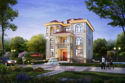 2020年农村30万别墅款式三层户型图,外观设计的很漂亮