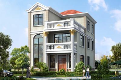 100平方两层半自建房屋设计图推荐,外观优雅端庄