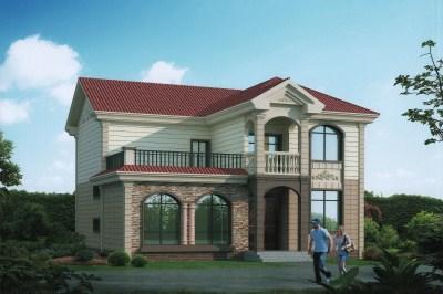 带阁楼两层半住宅设计图,面积适中,很适合自建房使用。