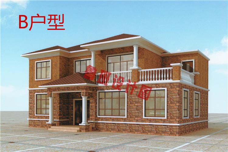 现代风格农村二层自建房别墅设计外观图