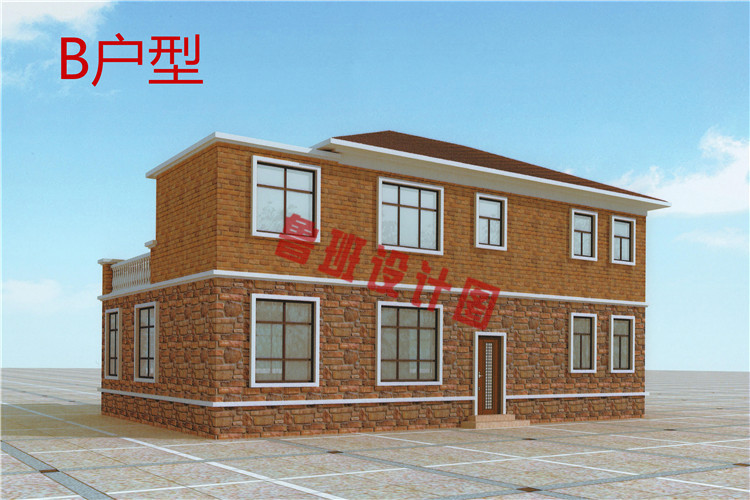 现代风格农村二层自建房别墅设计背面图
