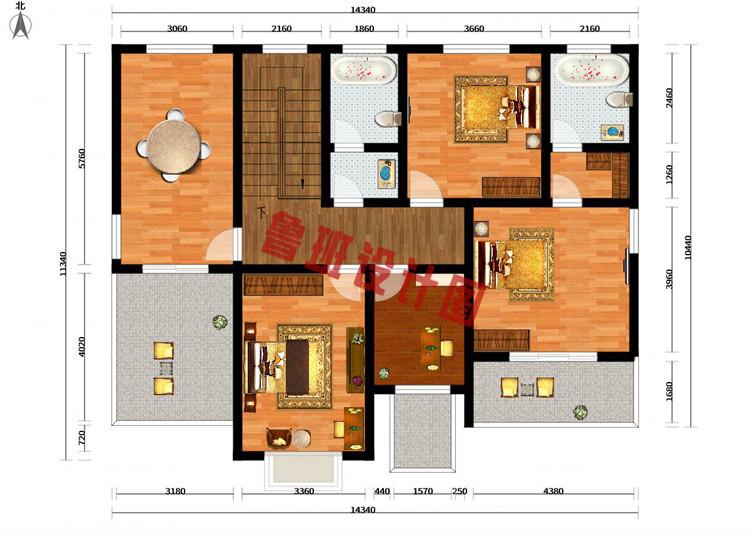 漂亮实用二层别墅房屋设计二层户型图