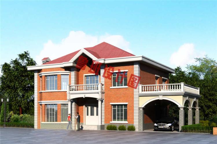 二层带车库别墅设计效果图