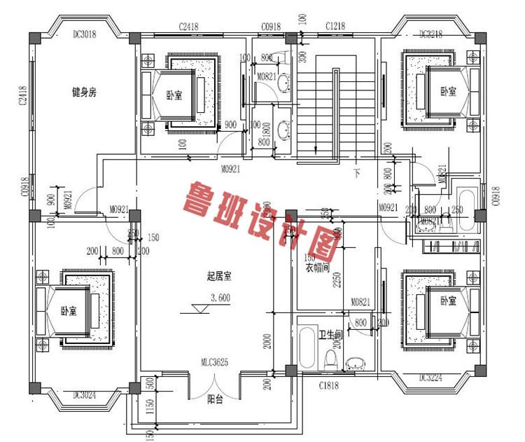 精致实用二层别墅设计二层户型图