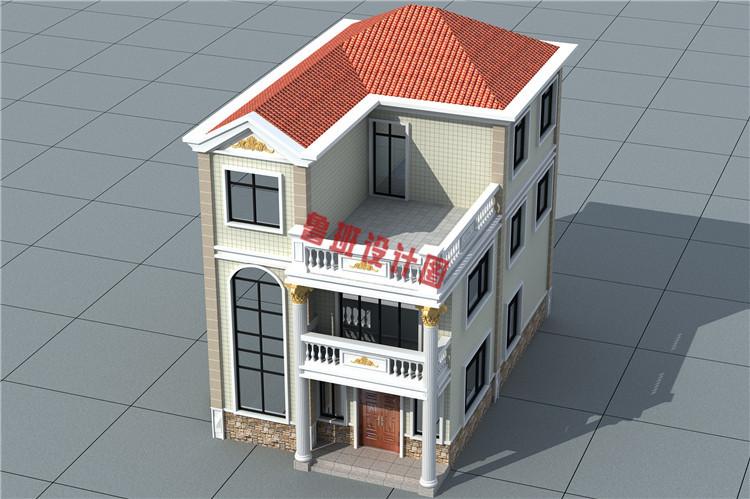 新型农村三层自建房屋设计鸟瞰图
