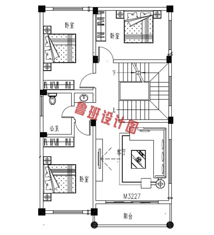 新型农村三层自建房屋设计二层户型图