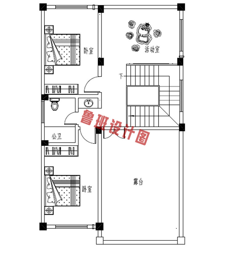 新型农村三层自建房屋设计三层户型图