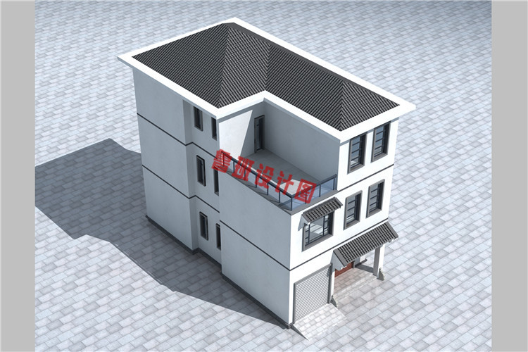 小开间大进深三层别墅设计鸟瞰图