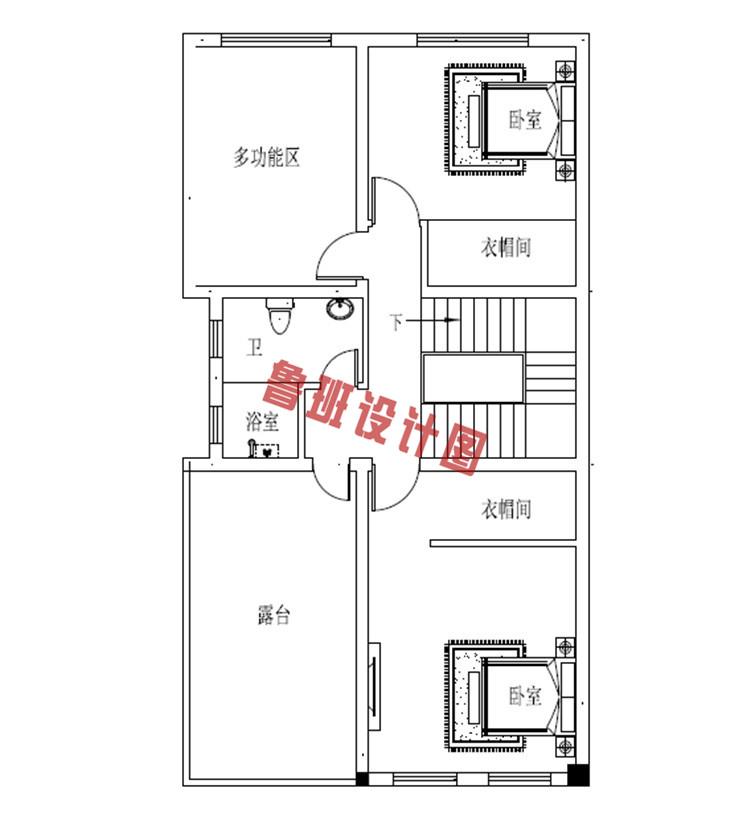 小开间大进深三层别墅设计三层户型图