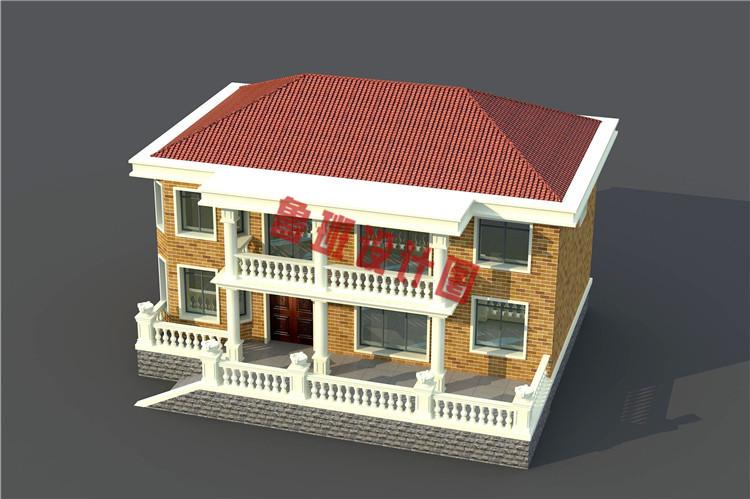 农村二层别墅设计鸟瞰图