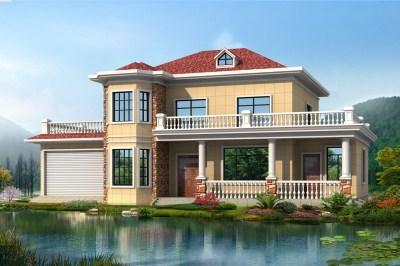 4间2层小楼房设计图,带屋顶花园和车库,三十万建造一栋。