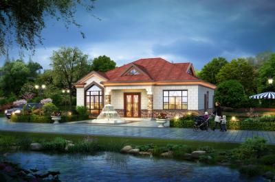 农村一层半别墅设计图,含外观效果图片