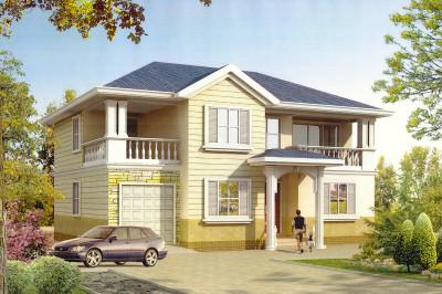 乡村两层160平带阁楼车库别墅楼房设计图,适合农村盖
