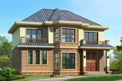 12.5 11米现代二层农村别墅设计图,二层小楼方案推荐