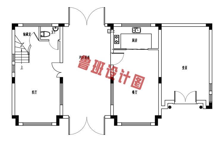 乡村二层小楼设计一层户型图