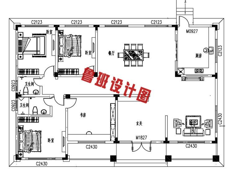 简单大气的一层别墅设计室内户型图