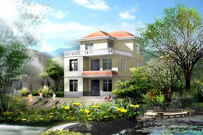 00平米农村二层半别墅设计图,造价20万以内 三层别墅设计图 鲁班