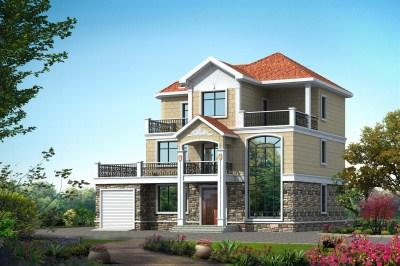 35万三层农村自建房房屋设计图,带车库,外观时尚洋气。