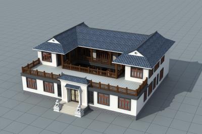农村双拼二层四合院别墅设计图,功能丰富,家庭居住舒适。
