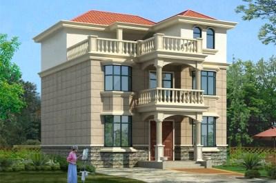 带露台三层别墅自建房设计图,含外观效果图