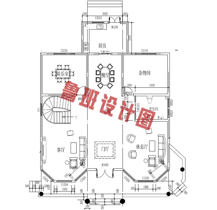 三层新农村住宅设计一层户型图