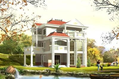 农村三层复式独栋楼房设计图,带全套设计施工图和外观效果图。