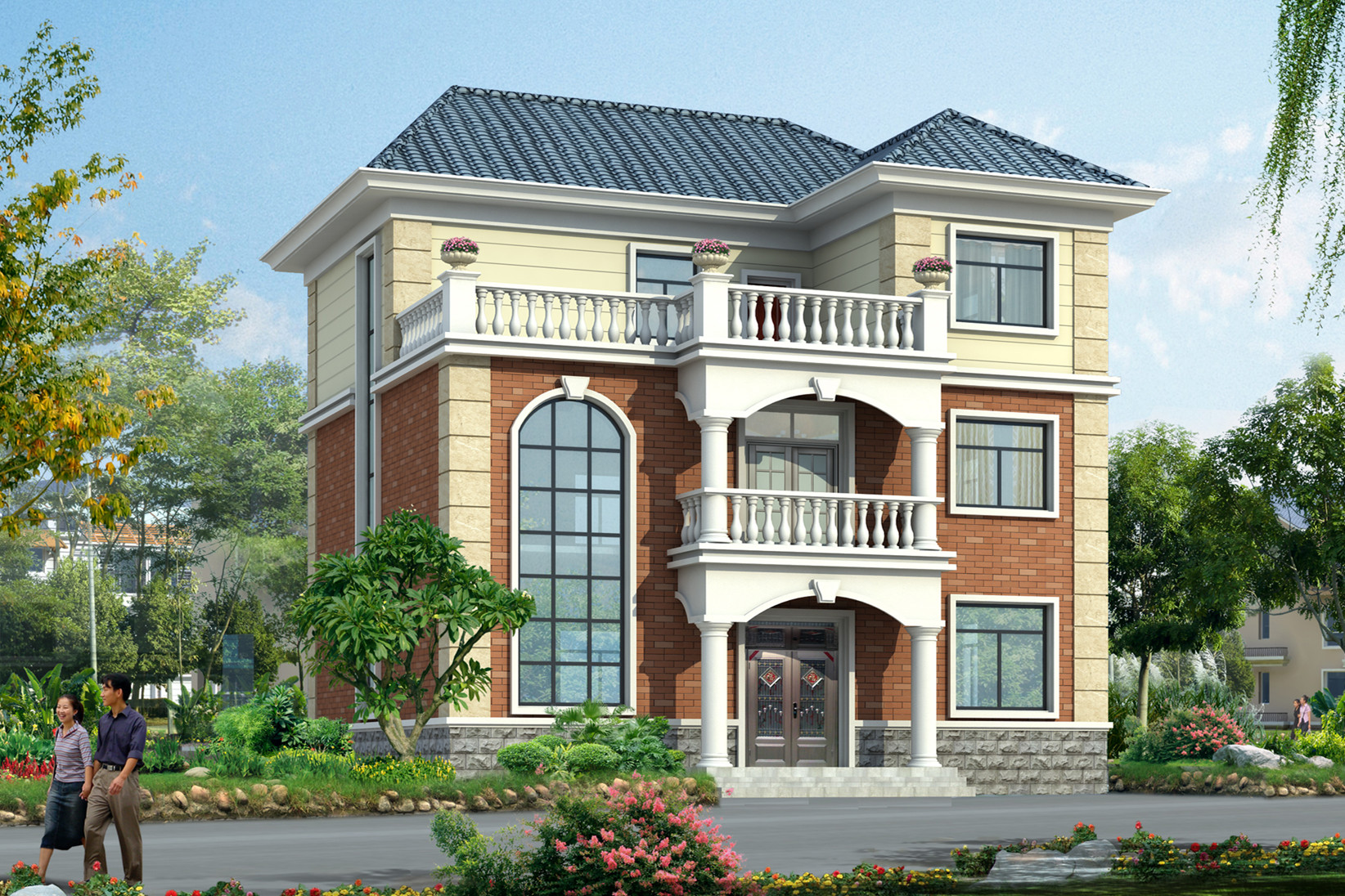 农村三层砖混结构别墅设计户型图,简约的风格