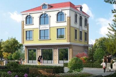 带商铺农村自建三层别墅房屋设计图,带门面户型推荐