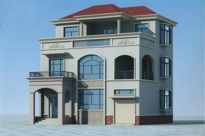 南方新农村三层别墅设计图,含外观效果图。