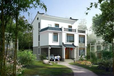 徽派小户型三层农村房屋设计图,含外观效果图片。