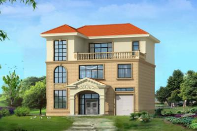 简欧式经典三层砖混别墅设计图,带车库