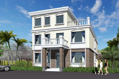 现代风格二层半层复式别墅小洋楼设计图