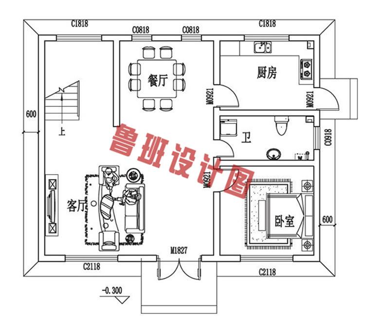 三层小别墅设计一层户型图