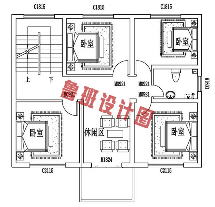 三层小别墅设计二层户型图