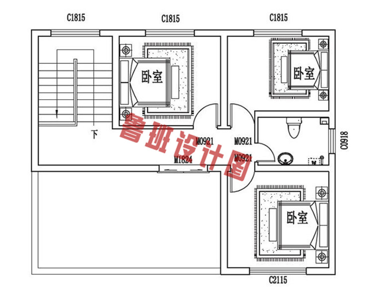 三层小别墅设计三层户型图