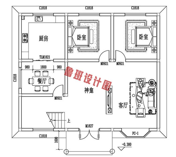 三层自建房设计一层户型图