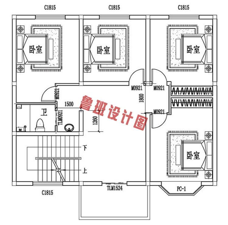 三层自建房设计二层户型图