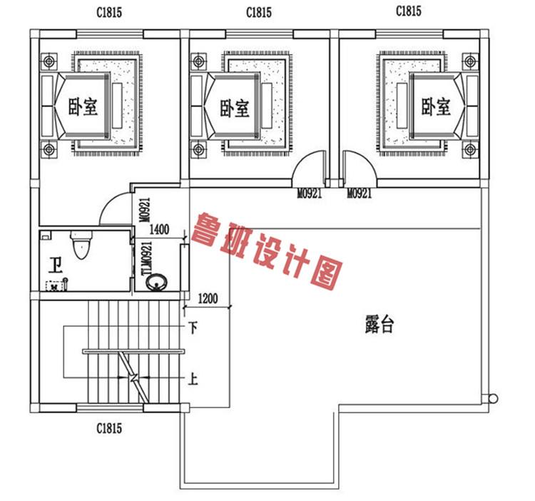 三层自建房设计三层户型图