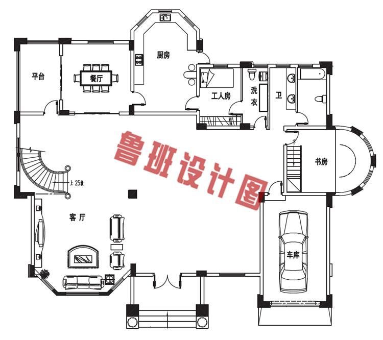 三层别墅设计一层户型图