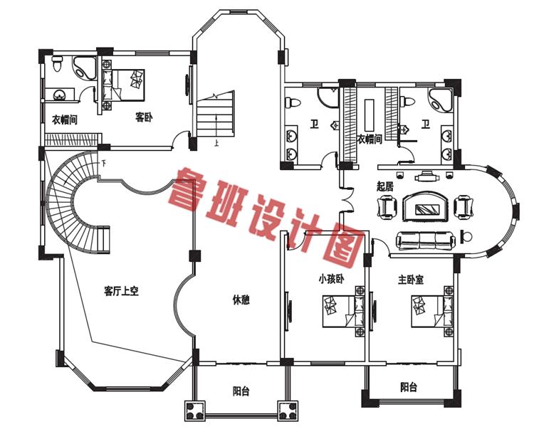 三层别墅设计二层户型图