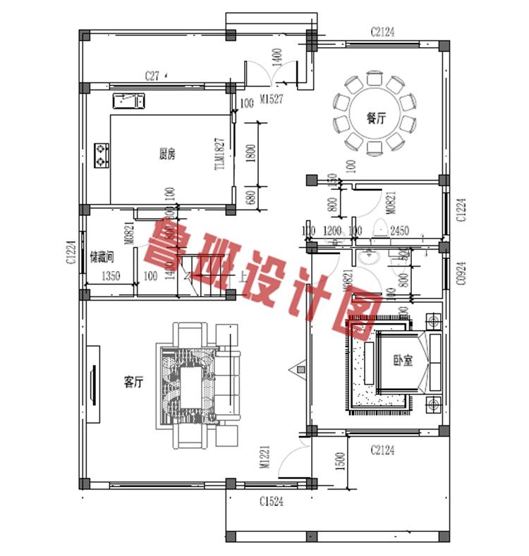 农村三层别墅一层户型图