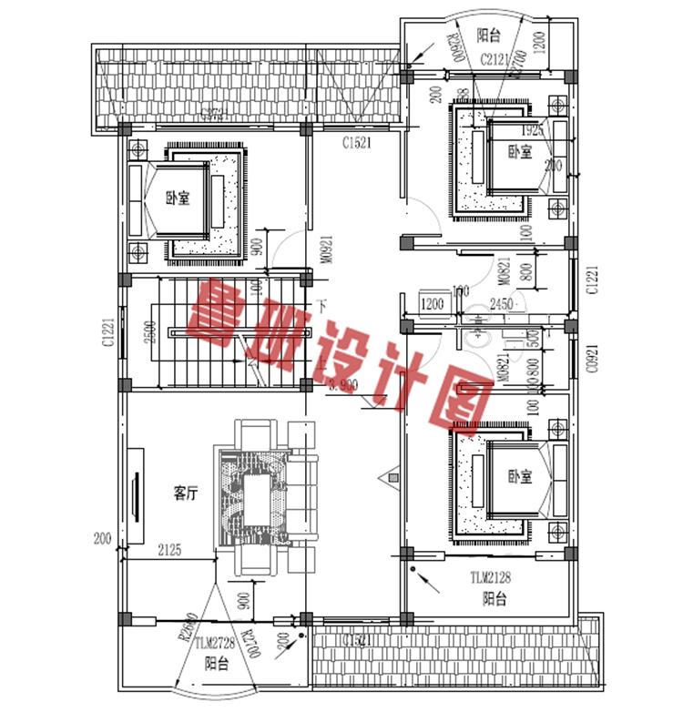 农村三层别墅二层户型图