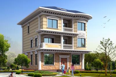 三层半新农村别墅房屋设计图,外观简洁清爽