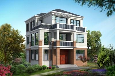 带阁楼三层半别墅房屋设计图,欧式风格,三几十万搞定!
