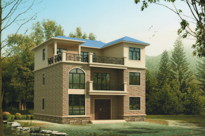 漂亮实用三层别墅自建房设计图,外观简洁大方