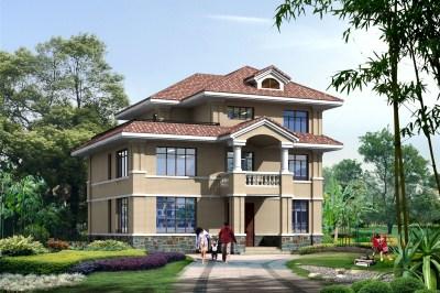 14×13米农村三层别墅房屋设计图,带外观效果图。