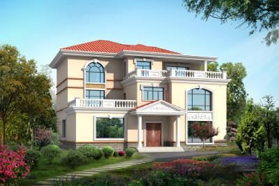 大户型三层自建房屋别墅设计图,外观色彩明亮大气