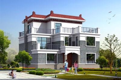 平屋顶农村三层别墅房屋设计图,格局紧凑合理造型美观